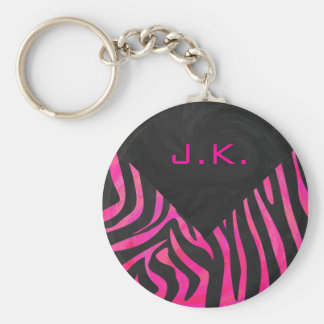 Monogram Black and Hot Pink Zebra Design Keychain