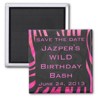 Monogram Black and Hot Pink Zebra Design Magnet