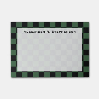 Monogram Black and Hunter Green Checkerboard Post-it Notes
