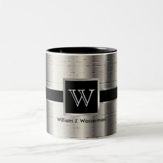 Monogram Black and Metallic Silver Two-Tone Coffee Mug