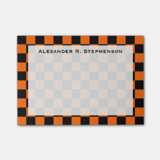 Monogram Black and Orange Checkerboard Post-it® Notes