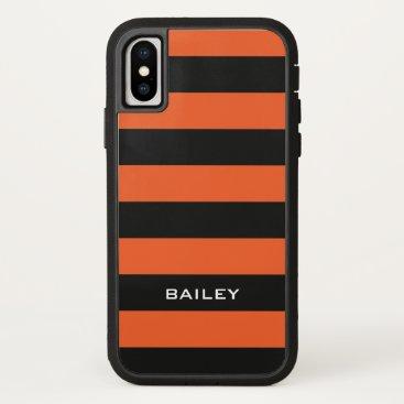 Beach Themed Monogram. Black and Orange-ish Stripes. iPhone X Case