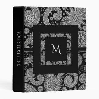 Monogram Black and Paisley Mini Binder