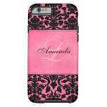 Monogram Black and Pink Damask iPhone 5 Case iPhone 6 Case
