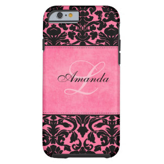 Monogram Black and Pink Damask iPhone 6 case