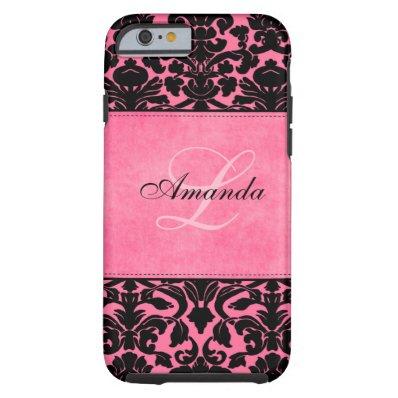 Monogram Black and Pink Damask  Tough iPhone 6 Case