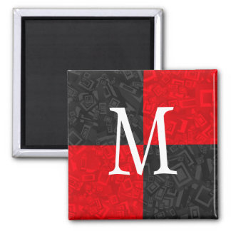 Monogram Black and Red Block Design 2 Inch Magnet