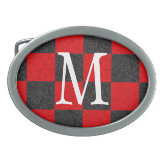 Monogram Black and Red Checker Pattern Belt Buckle
