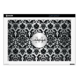 Monogram Black and Silver Damask Laptop Skin