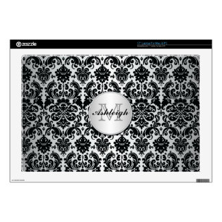Monogram Black and Silver Damask Laptop Skin