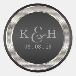 Monogram Black and Silver Metallic Round Labels