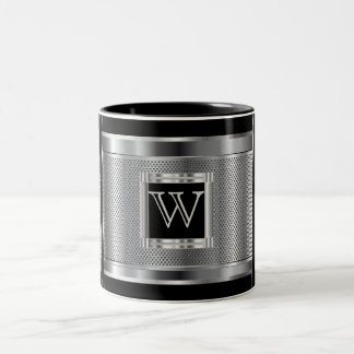 Monogram  Black and Silver Steel Metal Mesh Two-Tone Coffee Mug