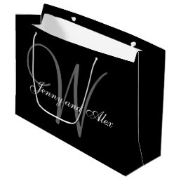 Monogram Black and Silver Wedding Large Gift Bag