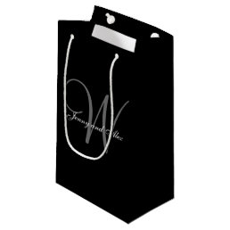Monogram Black and Silver Wedding Small Gift Bag