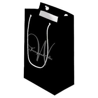 Monogram Black and Silver Wedding Small Gift Bag