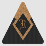 Monogram Black and Tan Elegant Triangle Stickers Sticker