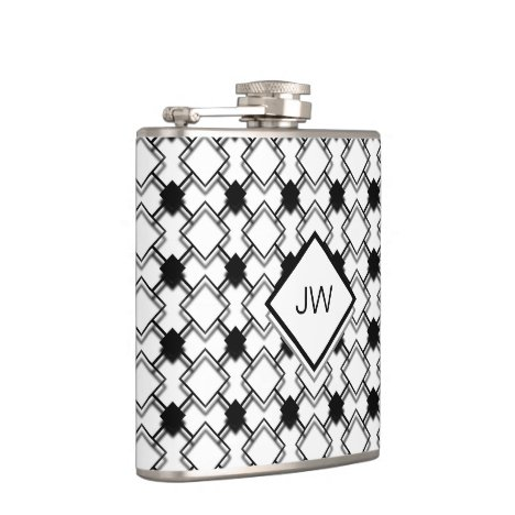 Monogram Black and White 3D Geometric Pattern Flask