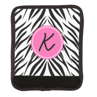 Monogram Black and White and Hot Pink Zebra Print Handle Wrap