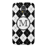 Monogram Black and White Argyle Cases For Galaxy S5