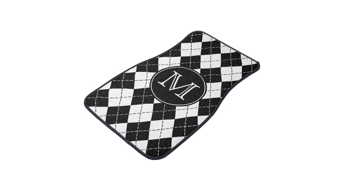 monogram black and white argyle floor mats zazzle