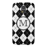 Monogram Black and White Argyle Galaxy S5 Cases