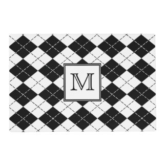 Monogram Black and White Argyle Placemat