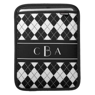 Monogram Black and White Argyle Sleeve For iPads