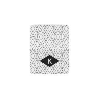 Monogram Black and White Art Deco Diamond Pattern Business Card Holder