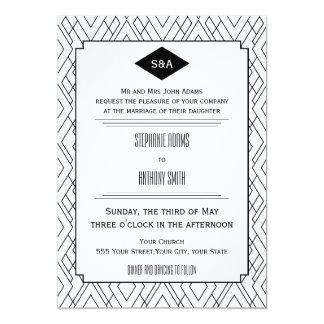 Monogram Black and White Art Deco Wedding 5x7 Paper Invitation Card