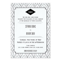Monogram Black and White Art Deco Wedding Card
