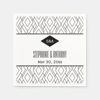 Monogram Black and White Art Deco Wedding Napkin