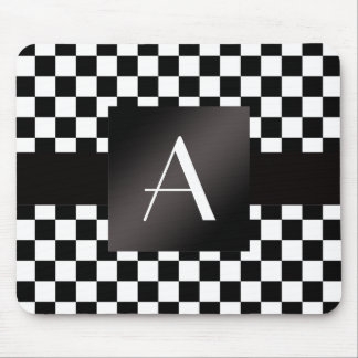 Monogram black and white checkers mouse pad