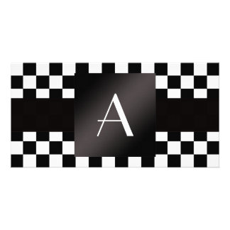 Monogram black and white checkers photo card