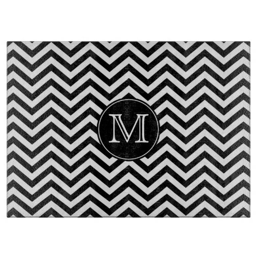 Monogram Black and White Chevron Cutting Board