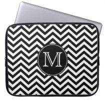 Monogram Black and White Chevron Laptop Sleeve