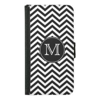 Monogram Black and White Chevron Samsung Galaxy S5 Wallet Case