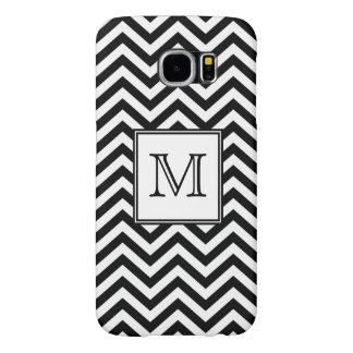 Monogram Black and White Chevron Samsung Galaxy S6 Case