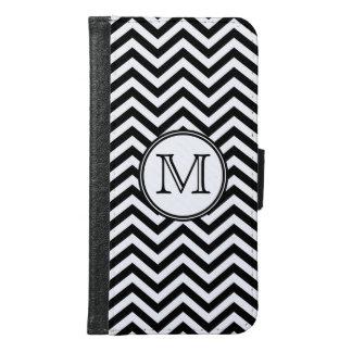 Monogram Black and White Chevron Samsung Galaxy S6 Wallet Case