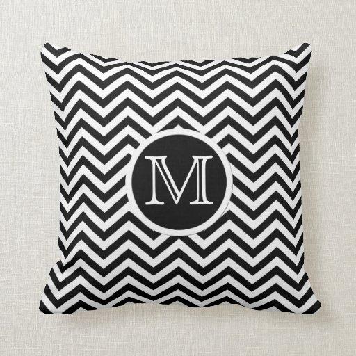 Black And White Chevron Throw Pillows : Monogram Black and White Chevron Throw Pillow Zazzle