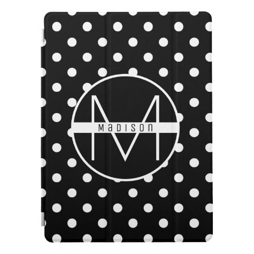 Monogram | Black and White Chic Polka Dot Pattern iPad Pro Cover