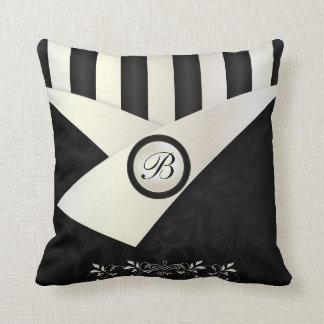 Monogram Black and White Eleganance Throw Pillow