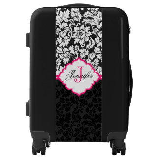 Monogram Black And White Floral Damask With Pink Luggage