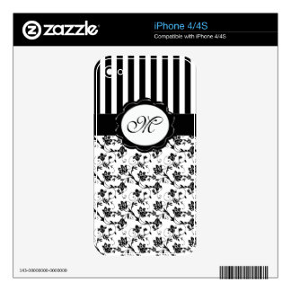 Monogram Black and White Floral iPhone 4/4s Skin iPhone 4S Decal