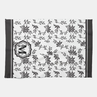 Monogram Black and White Floral Kitchen Towels
