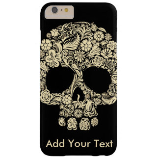 Monogram Black and White Floral Sugar Skull Barely There iPhone 6 Plus Case