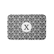 Monogram Black and White Geometric Pattern Bathroom Mat