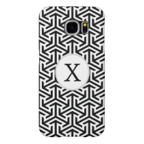 Monogram Black and White Geometric Pattern Samsung Galaxy S6 Case