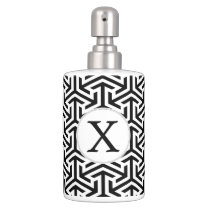monogram black and white geometrical pattern bath set