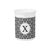monogram black and white geometrical pattern beverage pitcher