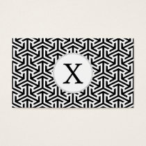 monogram black and white geometrical pattern business card